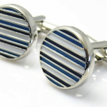 Stripey Blue Circles Cufflinks